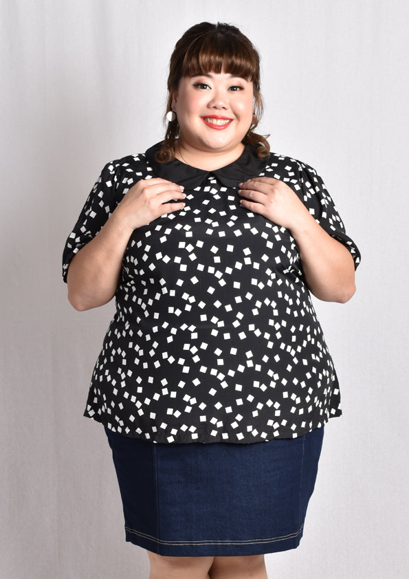 Black and White Peter Pan Collar Blouse