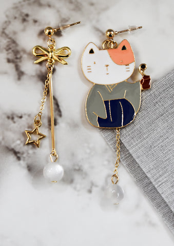 Japanese Cat Dangling Earrings with Pearl Details