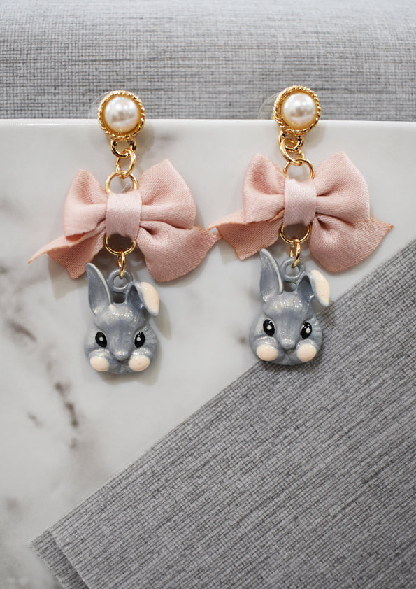 Rabbit & Pink Ribbon Earrings with Pearl Studs