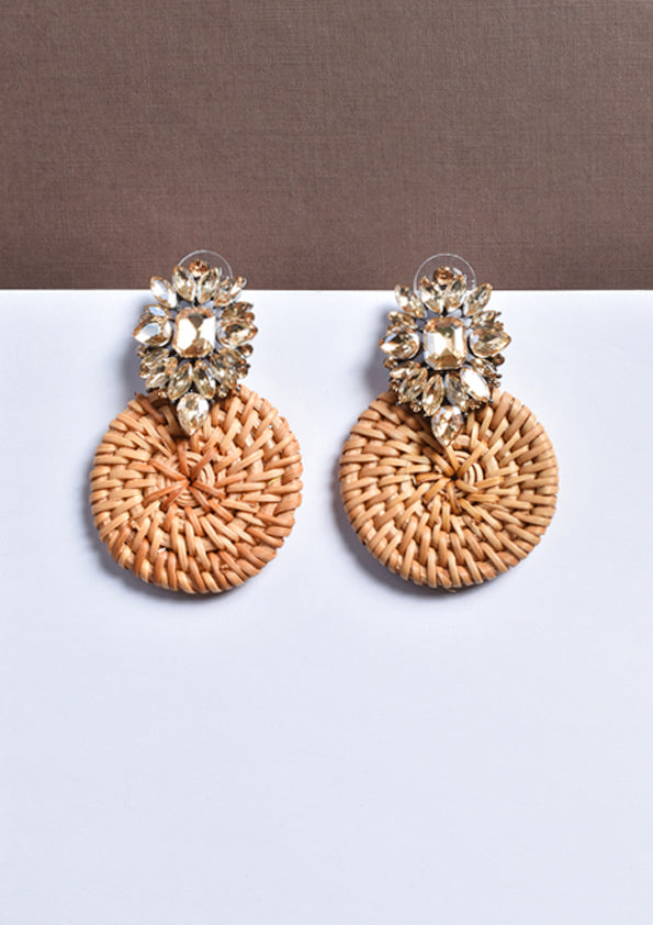 Floral Bejewelled Woven Earrings