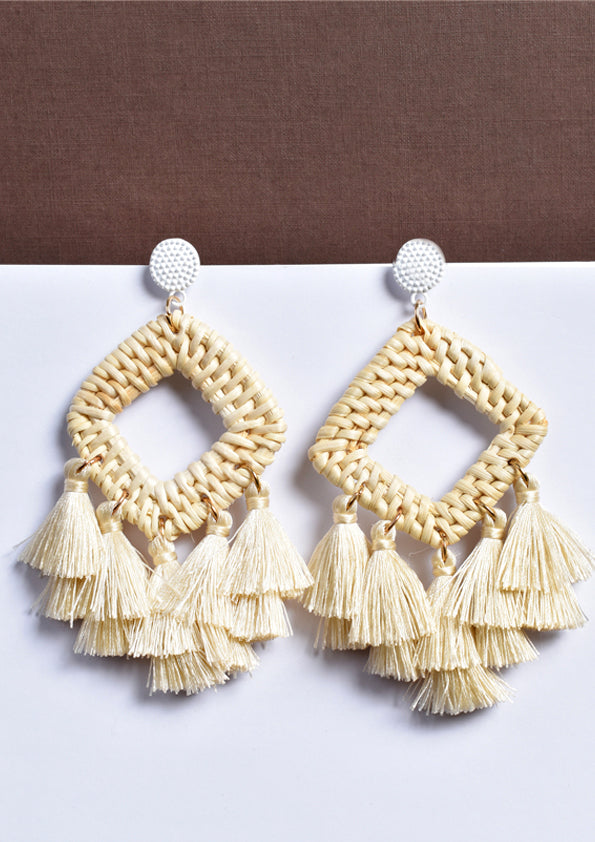 Woven Diamond Shape Earrings with Tassels