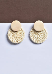 Woven & Wooden Circular Earrings