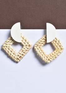 Wooden Hemisphere Earrings with Woven Diamond Loop