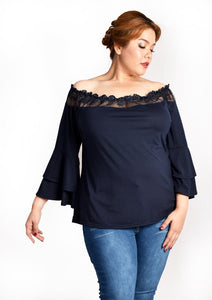 Dark Blue Off Shoulder Lace Blouse with Double Layered Bell Sleeves
