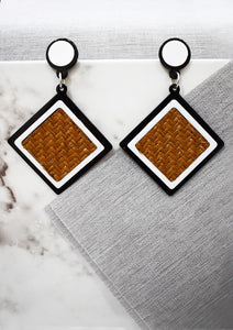 Woven & Acrylic Square Earrings