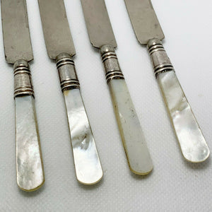 Four Sterling Silver Mother of Pearl Oyster Knives