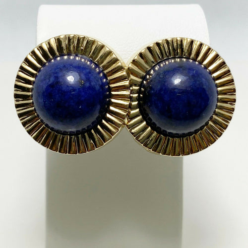 Classic 25mm 14k Yellow Gold Lapis Button Earrings
