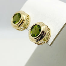 Load image into Gallery viewer, Luminous 2ctw Genuine Peridot 14k Yellow Gold Earrings