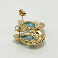 Load image into Gallery viewer, Vibrant 3ctw Genuine Blue Topaz Diamond 14k Gold Earrings