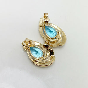 Vibrant 3ctw Genuine Blue Topaz Diamond 14k Gold Earrings