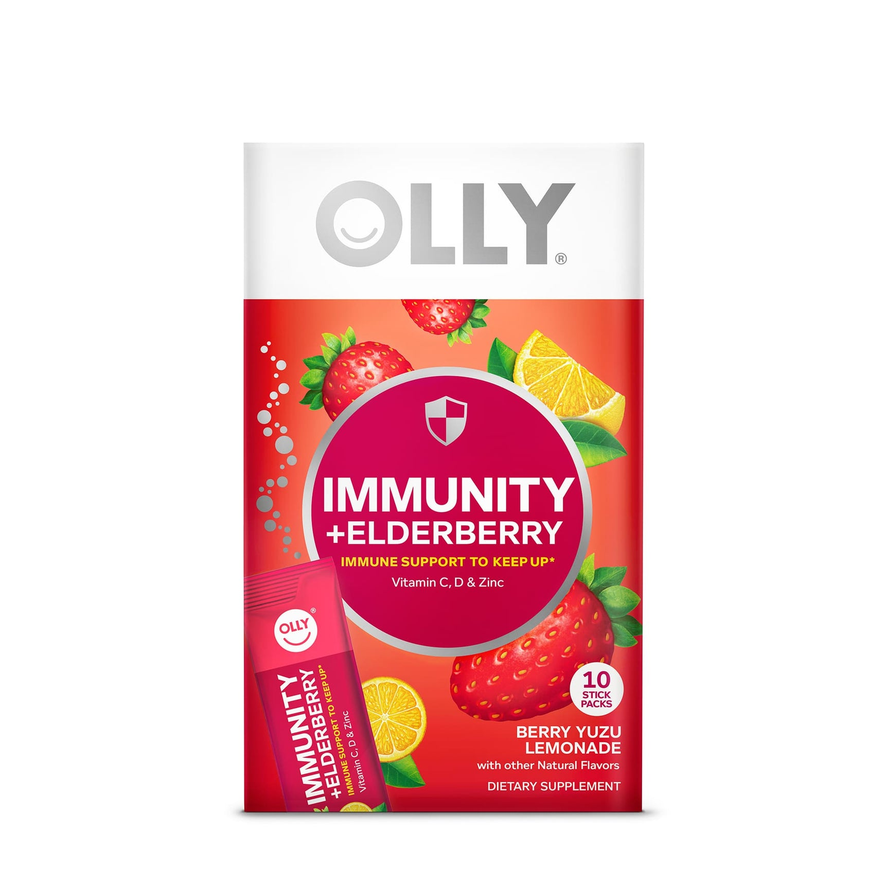 Immunity + Elderberry Berry Yuzu Lemonade Powder Pack Front