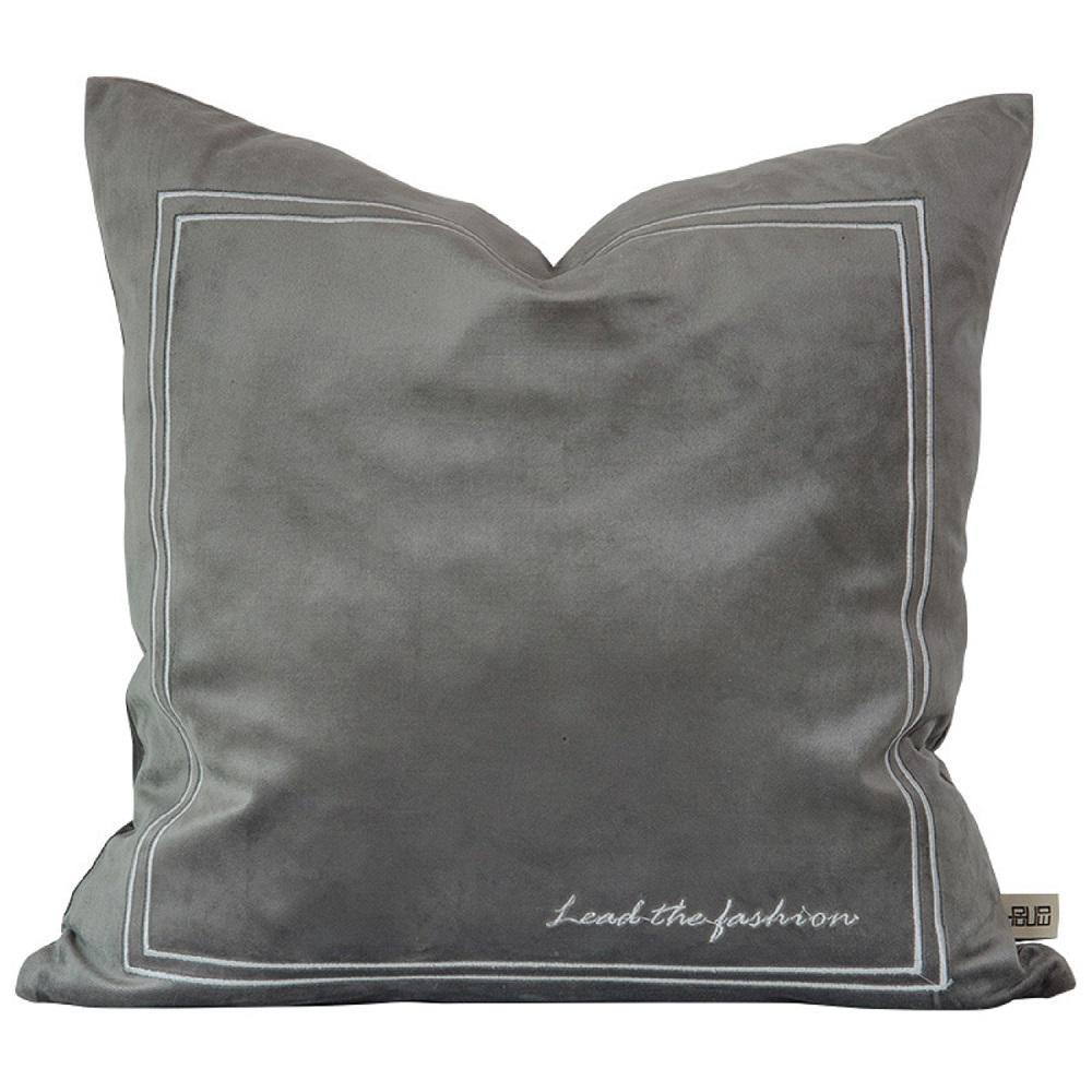 Dawn Gray Pure Velvet Embroidery Pillow Cover