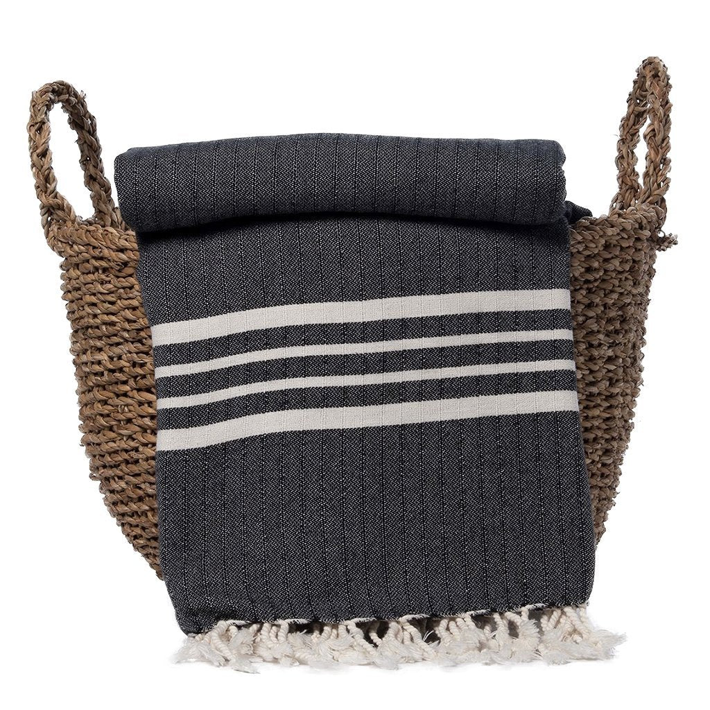 Black Nautical Stripe Turkish Throw