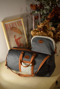 Vocco Toiletry Case Dark Grey Linen Checks - Vocco