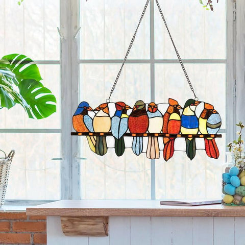 "22.5"" Tiffany Glass Window Panel 8 Birds Hanging with Chain"