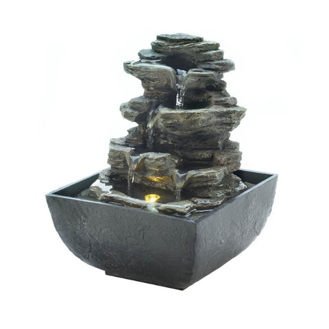 Tiered Rock Formation Tabletop Fountain - Shop For Decor