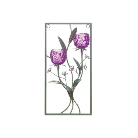 Two Candle Magenta Flower Wall Sconce - Shop For Decor