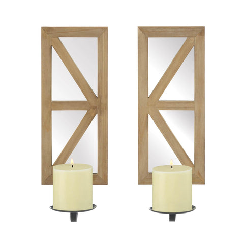 Mirrored Wood Candle Sconce Set - Shop For Decor