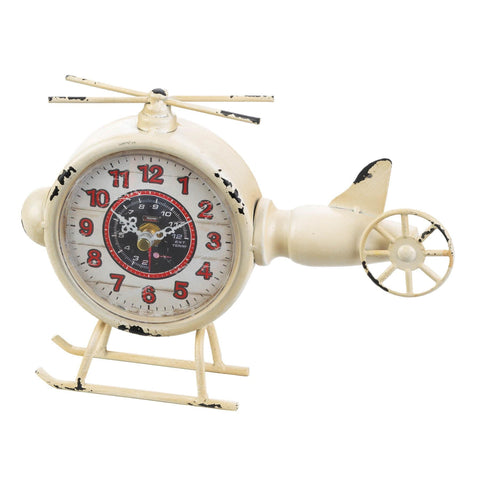 White Helicopter Desk Clock - Shop For Decor