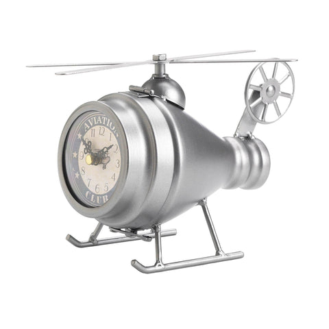 Silver Helicopter Desk Clock - Shop For Decor