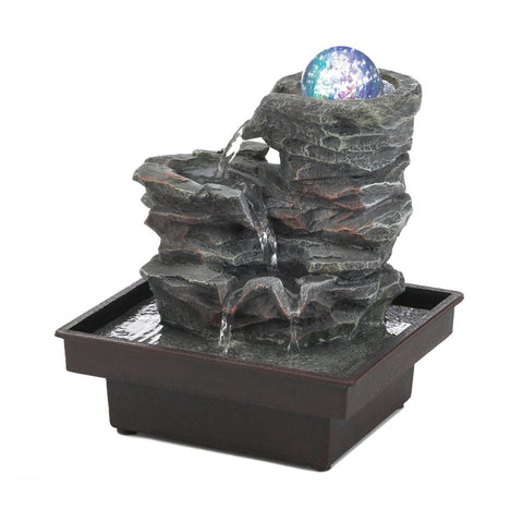 Glass Orb On Rocks Tabletop Fountain - Shop For Decor