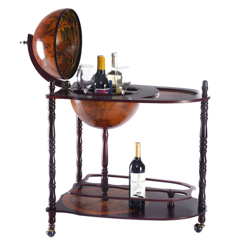 Vintage Globe Wine Stand Bottle Rack with Extra Shelf - Shop For Decor