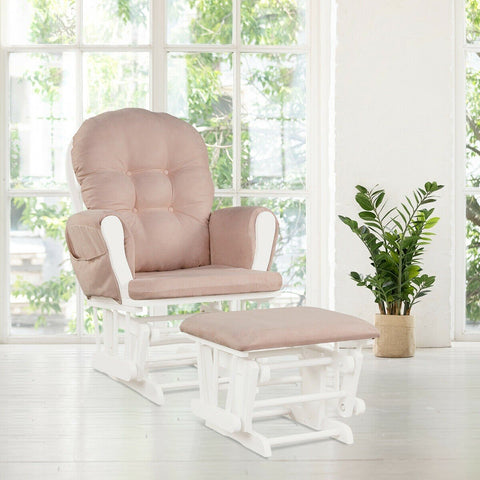 Baby Nursery Rocking Chair with Adjustable Backrest + Ottoman Choice of 6 Shades - Shop For Decor