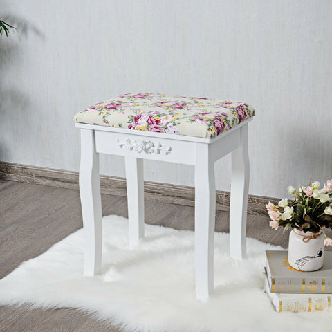 Vanity Wood Dressing Stool Padded Piano Seat with Rose Cushion - Shop For Decor