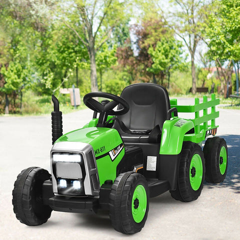 12V Kids Ride On Tractor with Trailer Ground Loader - Shop For Decor