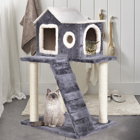 "Tower Condo Cat Scratching Post  Tree 36"" With Ladder - Shop For Decor"