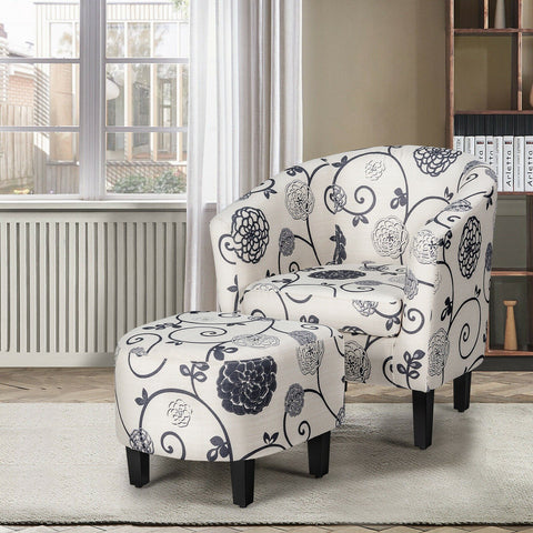 Modern Accent Tub Chair and Ottoman Set with Fabric Upholstered - Shop For Decor