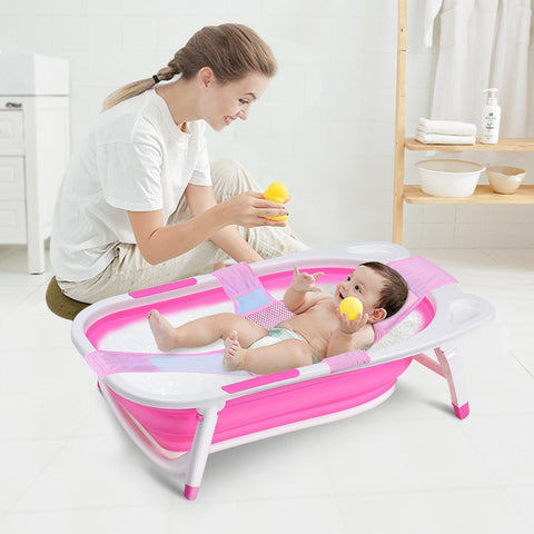 Baby Folding Collapsible Portable Bathtub w/ Block in 3 Colors - Shop For Decor