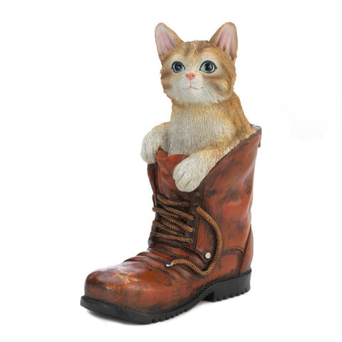 Cat In A Boot Garden Figurine - Shop For Decor