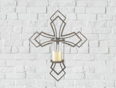 Contemporary Cross Candle Wall Sconce - Shop For Decor