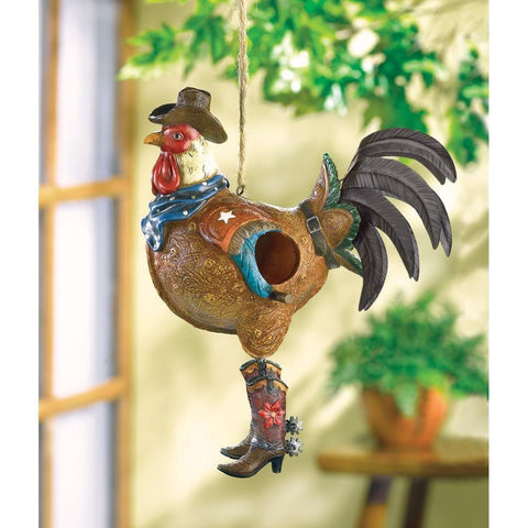 Cowboy Rooster Birdhouse - Shop For Decor