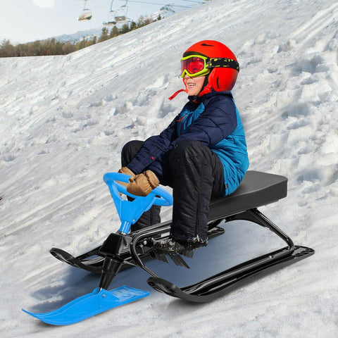 Kids Snow Sand Grass Sled w/ Steering Wheel and Brakes - Shop For Decor