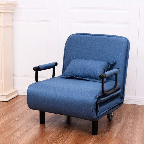 Convertible Folding Leisure Recliner Sofa Bed - Blue or Coffee - Shop For Decor