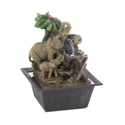 Elephant Family Tabletop Fountain - Shop For Decor