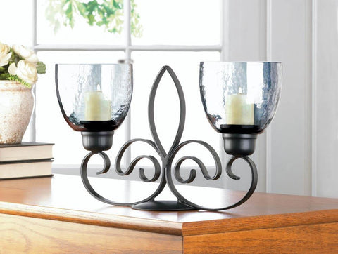 Fleur De Lis Duo Candle Stand - Shop For Decor