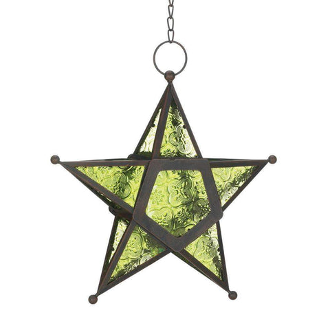 Green Glass Star Lantern - Shop For Decor