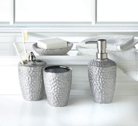 Hammered Silver Bath Accessory Set - Shop For Decor