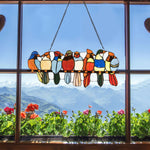 "22.5"" Tiffany Glass Window Panel 8 Birds Hanging with Chain - Shop For Decor"