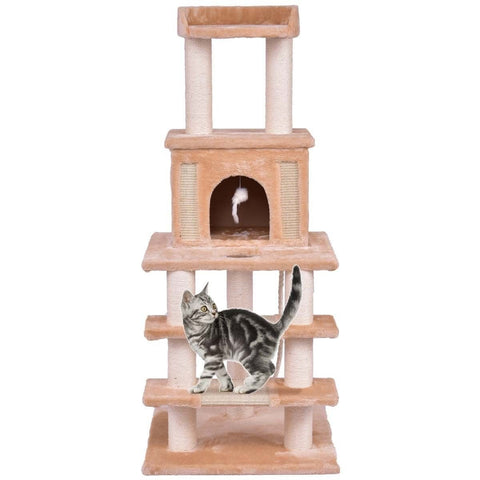 "52"" Tower Condo Scratching Post Cat Tree with Rope and Mouse - Shop For Decor"