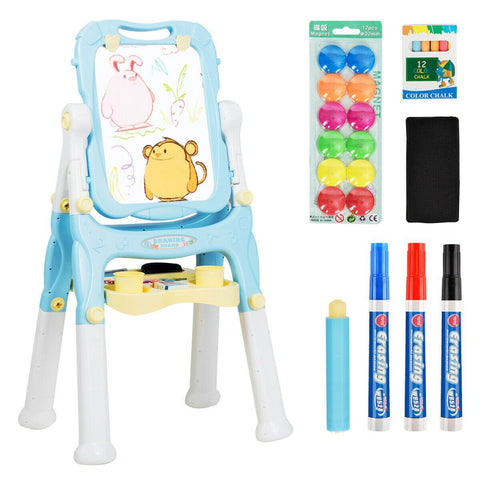 Children Height Adjustable Double Side Magnetic Art Easel - Blue or Purple - Shop For Decor