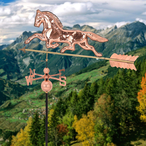 Roof Mounted Copper Horse Polished Weathervane - Shop For Decor