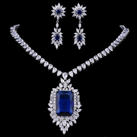 Royal Blue Earring Necklace Zircons AAA Quality Big Cubic Zirconia - Shop For Decor