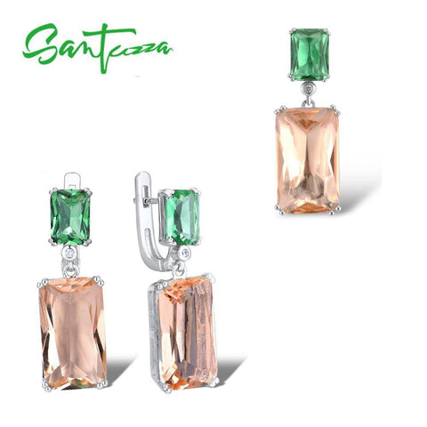 Fine Set Of Genuine 925 Sterling Silver Octagon Green Orange Crystal Pendant And Earrings - Shop For Decor