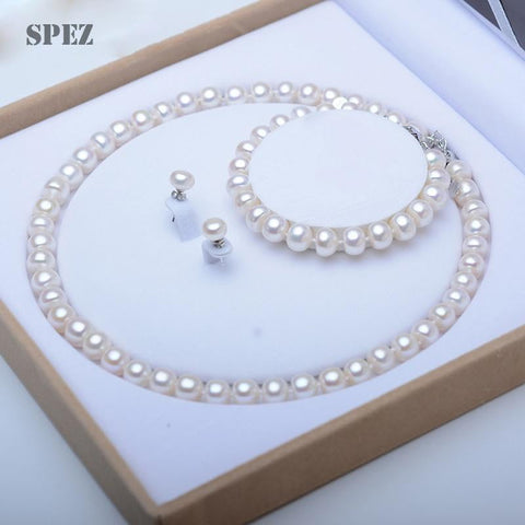 Genuine Natural Freshwater Pearl Jewelry Set 925 Sterling Silver Pearl Necklace/ Earrings/ Bracelet - Shop For Decor