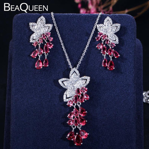 BeaQueen Rose Red Cubic Zirconia Crystal Flower Tassel Drop Earrings Necklace Jewelry Set - Shop For Decor