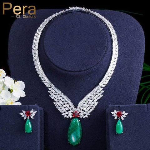 Pera Vintage Emerald Green Red CZ Stone Large Long Drop Necklace and Earring Set - Shop For Decor